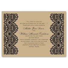 Damask Band - Seal and Send Invitation A band of elaborate damask flows along the top of this white...