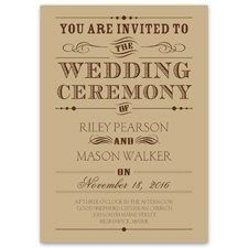 Typography Invitation Trendy typography looks amazing on this kraft paper wedding invitation and is...