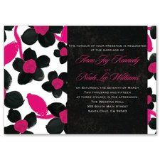 Watercolor Flower Invitation Bright pink and black create a bold combination of colors for these...