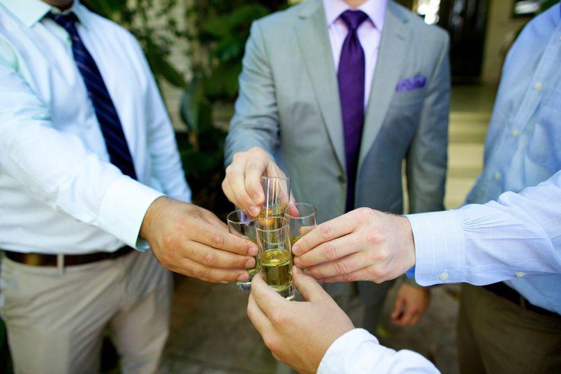 grooms cheersing