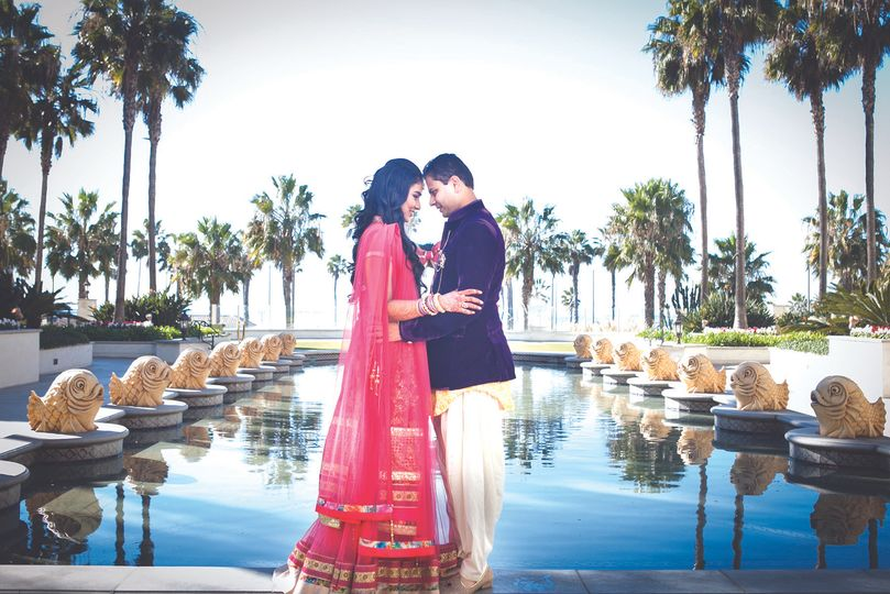 Indian wedding couple at Huntington Beach Hyatt Regency Hotel