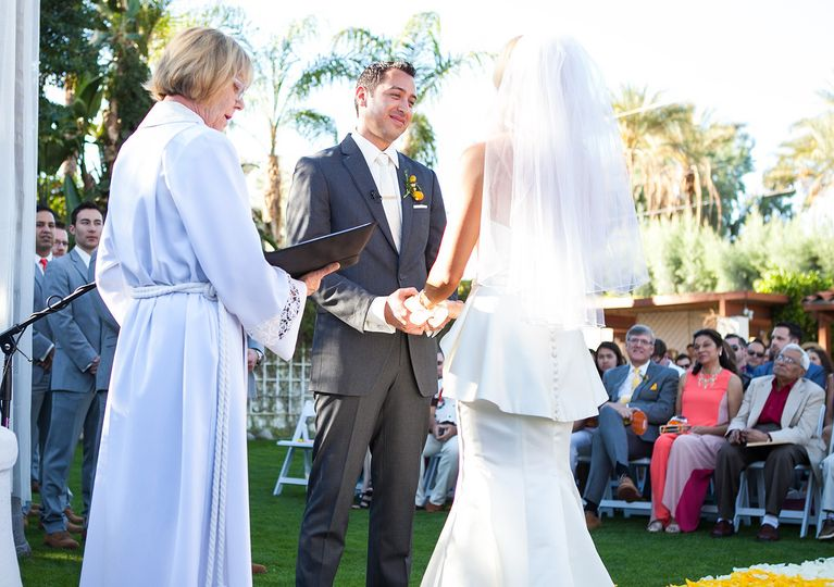Wedding ceremony at Historic Cree Estate, wedding at Palm Springs California, outdoor wedding...