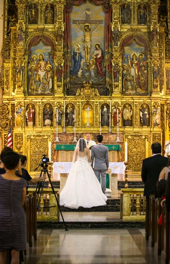 Catholic wedding ceremony at St Vincent Church Los Angeles