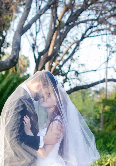 Romantic wedding couple, intimate wedding photo