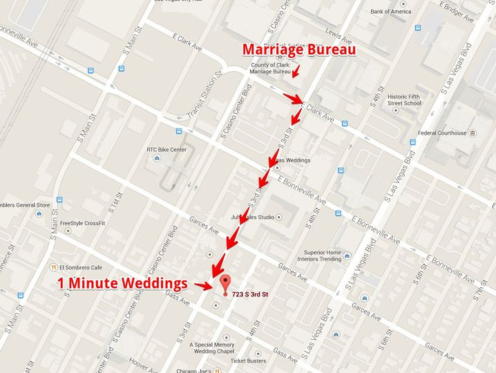 minute weddings map