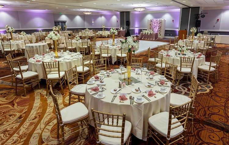 A ballroom set for guest to arrive