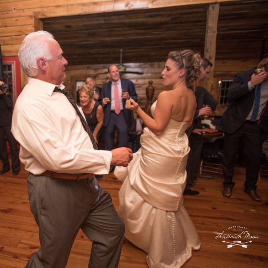 Emily & her father dancing at het landhuis. Photo by thirteenth moon photography