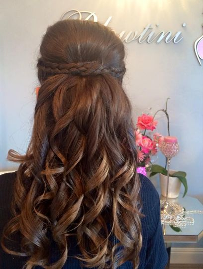 long curls with braid in back