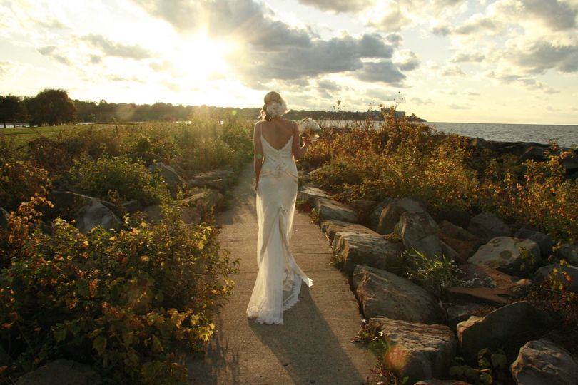 Beautiful bride walking off into the sunset