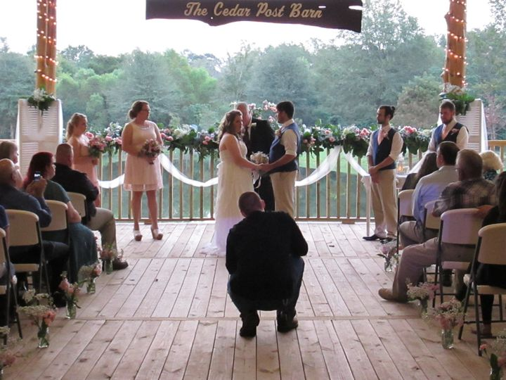 A beautiful backdrop at the Cedar Post Barn in Albany, La. We provided ceremony and reception music...