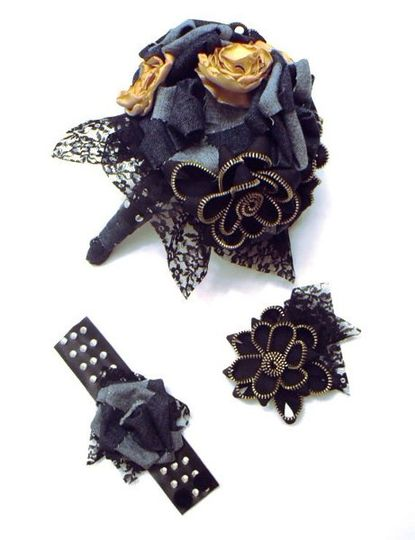 Biker Bouquet, wrist corsage and boutonniere made from denim and zippers