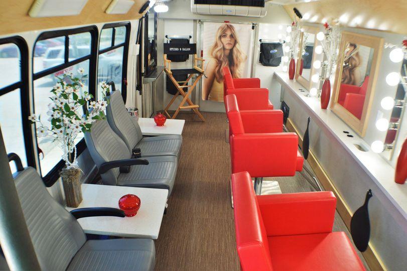 Interior of mobile salon