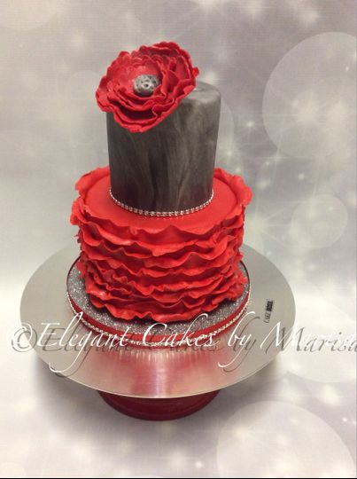 2 tiered red ruffles and gray marble with bling and custom gumpaste flower