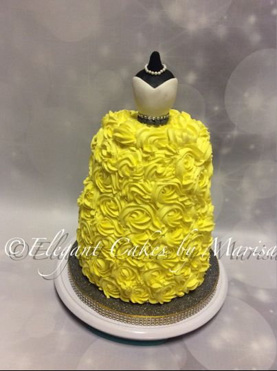 Bridal shower cake with buttercream ruffles and custom topper