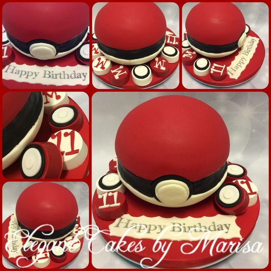 Poke Ball birthday cake with chocolate covered Oreos with custom toppers
