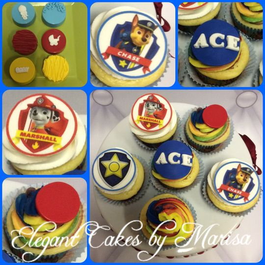 Paw Patrol themed baby shower cupcakes with