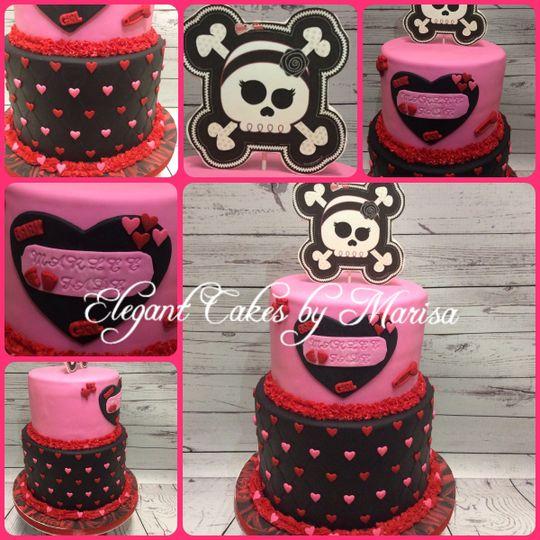 Skull Baby themed baby shower cake