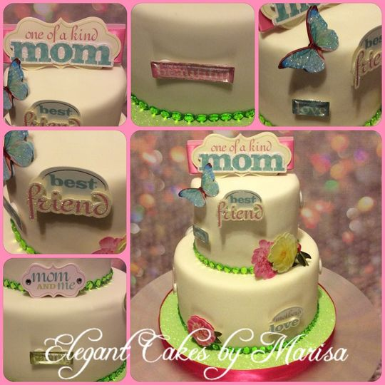 Mothers Day themed cake with Scrapbooking decorations
