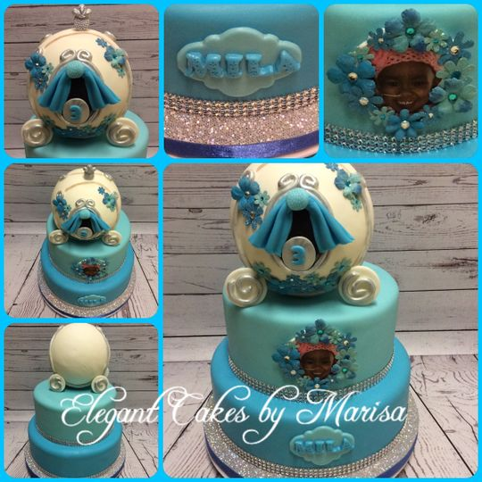 Cinderella themed birthday cake with custom topper and dec
