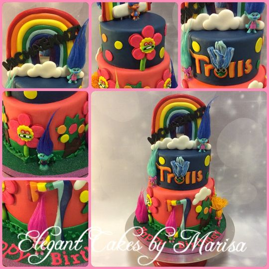Trolls themed birthday cake with custom decorations, topper, and toys