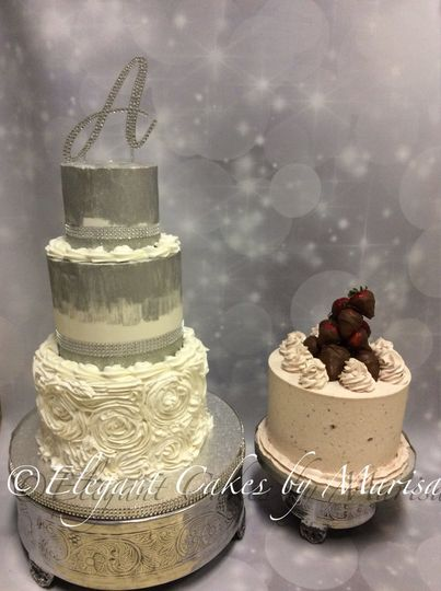 3 tiered bride/groom buttercream handpainted silver with chocolate dipped strawberries