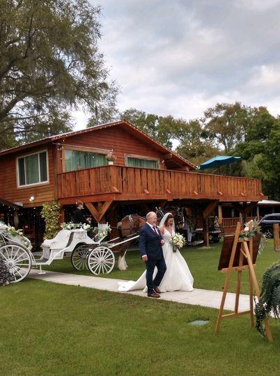 Bride, Father, Horse & Carriag