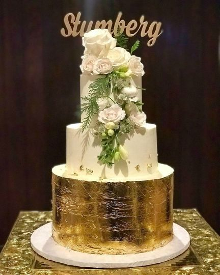 Gold foil and fresh flowers
