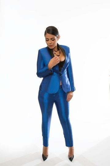 Blue suit woman