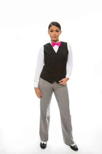 Classic suit with pink ribbon tie