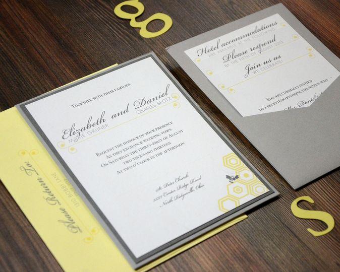 Yellow and grey invitation