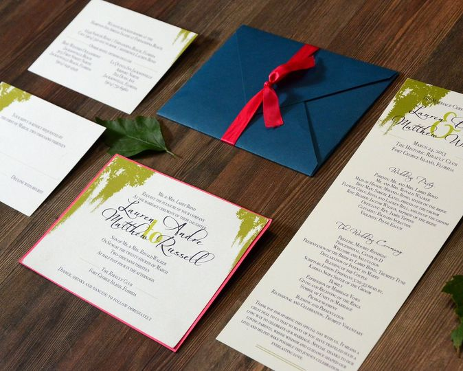Blue envelope with red ribbon