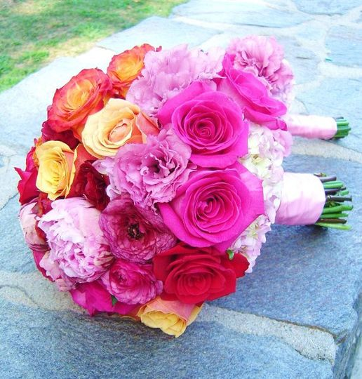 Orange and Hot Pink Bridal Bouquet