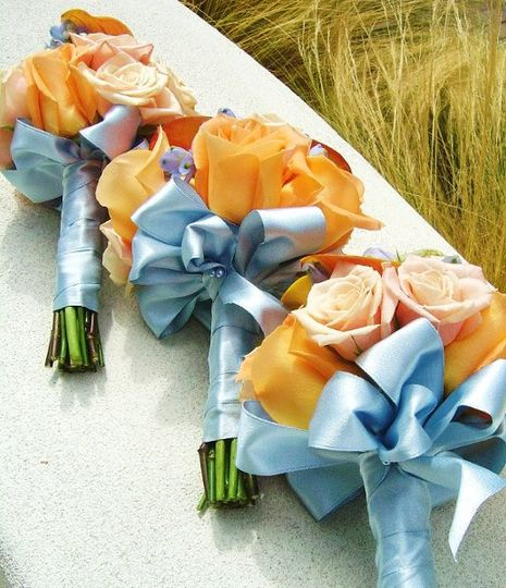Orange and Ice Blue Bridesmaids Bouquets