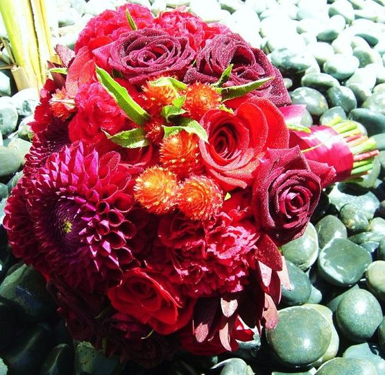 Red Texture Bridal Bouquet