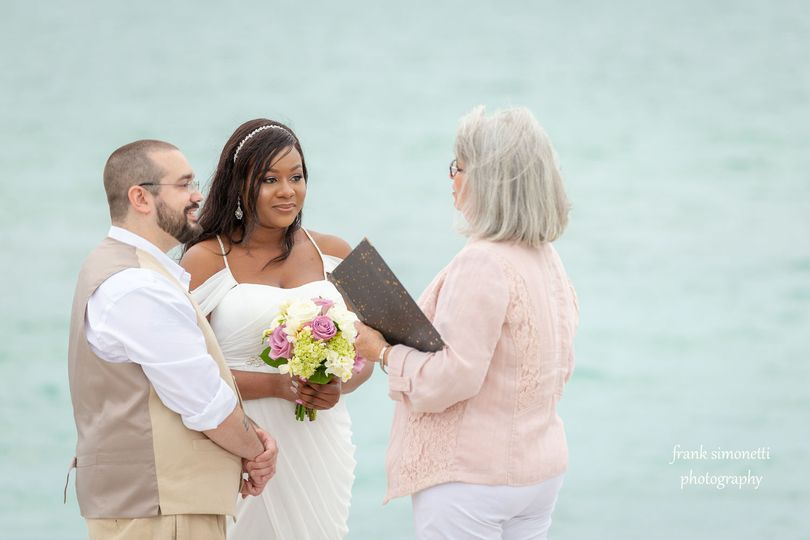 Patricia Slater performing a wedding on Captiva Island