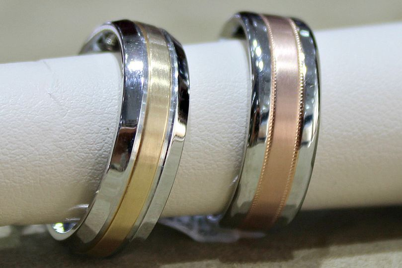 Rings with color in the middle