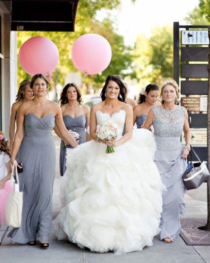 Happy bride with bridesmaids