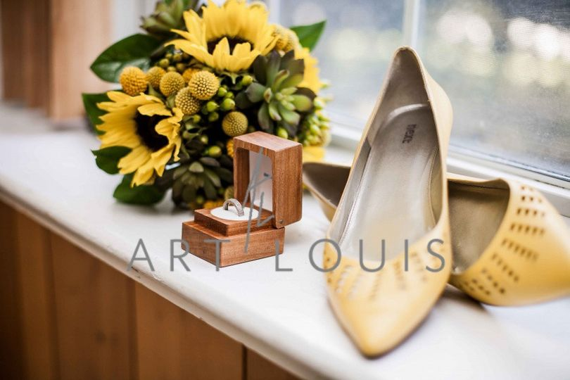 Wedding ring and bridal shoes