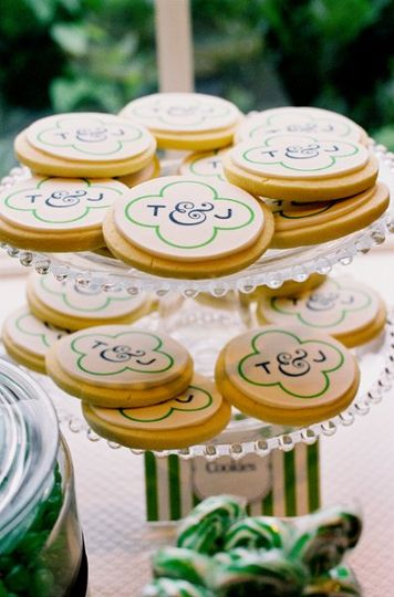 Edible Image on Custom Sugar Cookie carries the couple's custom monogram and wedding theme colors...