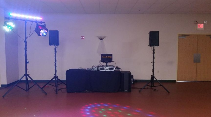 DJ table with sound system
