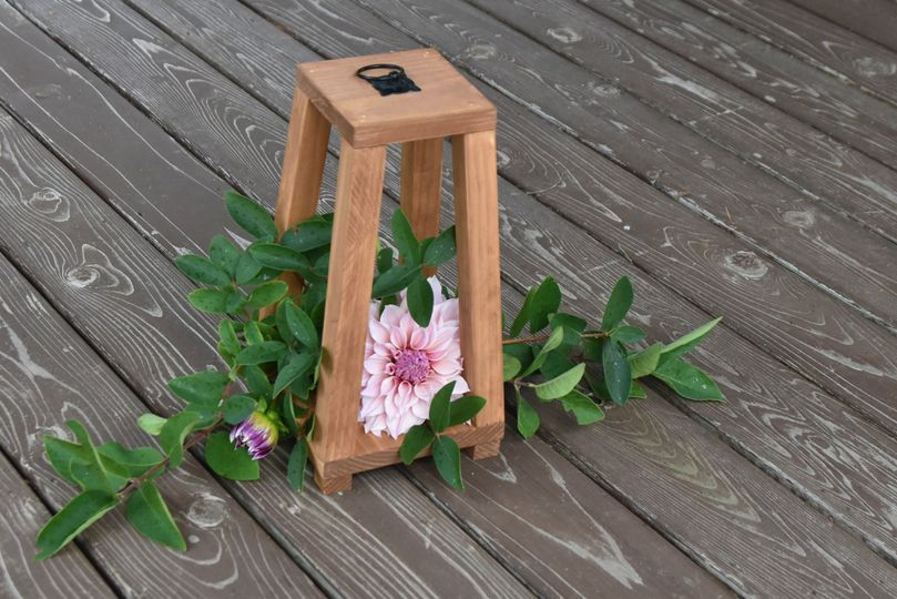 tapered wooden lantern with florals 51 972916