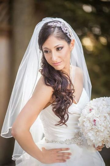 Bride with her white bouquet