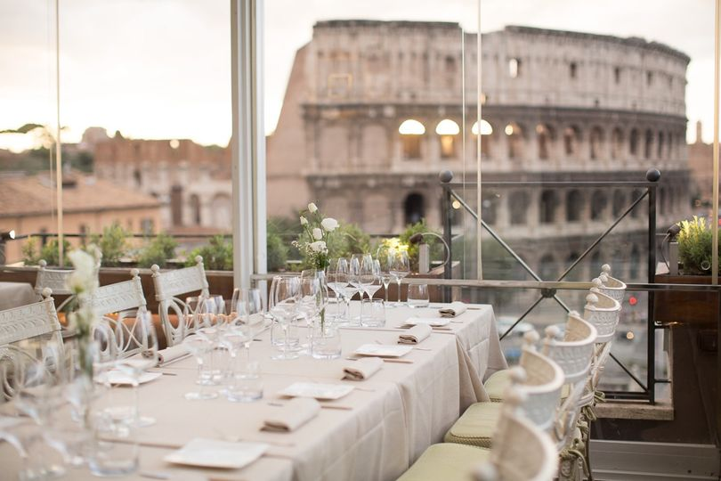 Single long table on rooftop