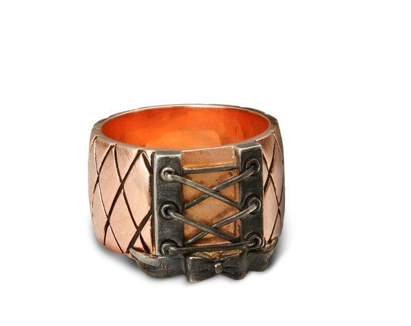 """Looks like you """"laced me up around my finger!"""" This 14K Rose gold (shown) band is reminiscent of..."""