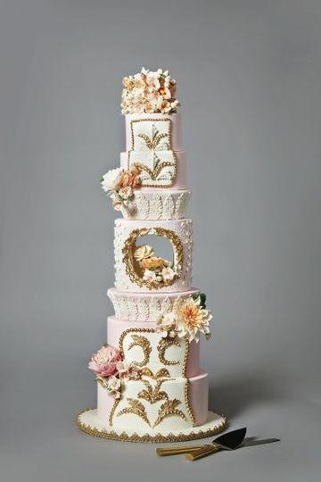Pink Blush and Gold Cake