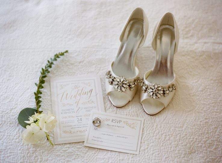 Bridal shoes and wedding cards