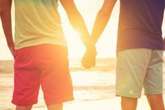 gay couple watching sunset happy holding hands bea