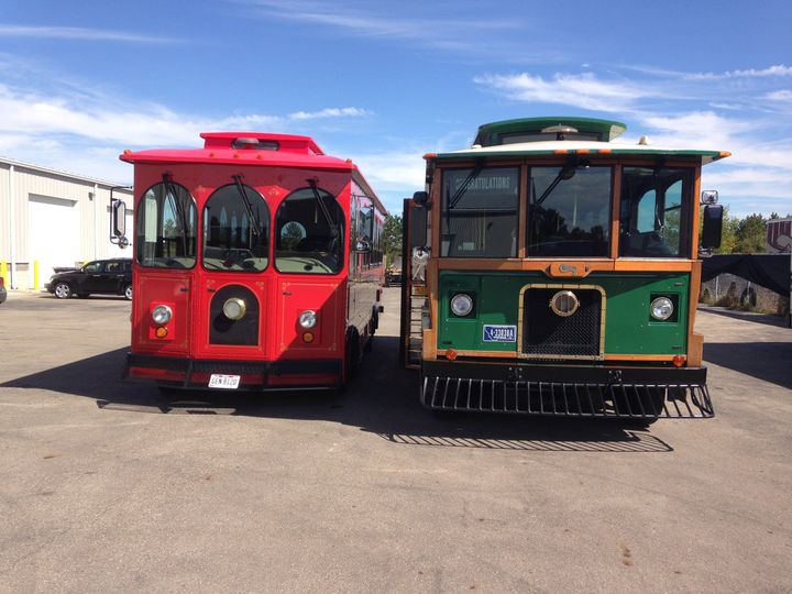 Red and green trolley