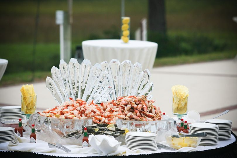 small seafood display with ice sculpture