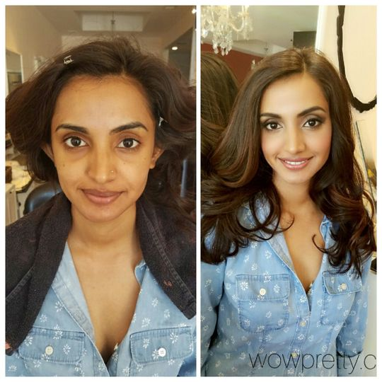 Before and after makeup and ha